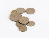 在白色背景隔绝的另外价值几枚瑞士硬币 免版税图库摄影