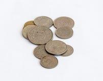 在白色背景隔绝的另外价值几枚瑞士硬币 库存照片