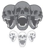 在白色背景隔绝的叫喊的头骨 设计要素例证图象向量 免版税库存图片