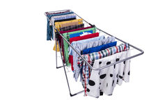 在白色背景隔绝的可折叠晒衣架 免版税库存图片