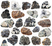在白色背景隔绝的各种各样的钛矿石 库存图片