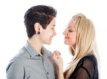 在白色背景隔绝的同性恋人 免版税库存照片
