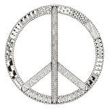 在白色背景隔绝的和平标志 Zentangle传统化了 图库摄影