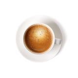 在白色背景隔绝的咖啡杯特写镜头 免版税库存照片