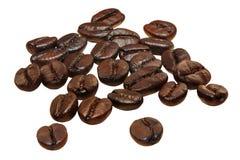 在白色背景隔绝的咖啡豆 库存照片