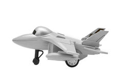 在白色背景隔绝的喷气式歼击机玩具的模型 免版税库存照片