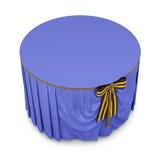 在白色背景隔绝的圆桌上的蓝色桌布 3d 免版税库存照片
