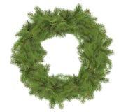 在白色背景隔绝的圣诞树花圈 免版税库存图片