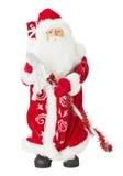 在白色背景隔绝的圣诞老人玩具 库存图片