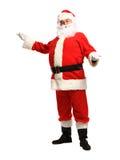 在白色背景隔绝的圣诞老人身分-全长 库存照片