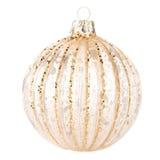 在白色背景隔绝的圣诞节金黄球,欢乐12月 库存图片