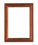 在白色背景隔绝的垂直的木照片框架 库存照片
