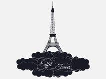 在白色背景隔绝的埃佛尔铁塔 云彩的艾菲尔铁塔 巴黎和法国的视域 免版税库存图片