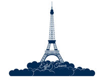 在白色背景隔绝的埃佛尔铁塔 云彩的艾菲尔铁塔 巴黎和法国的视域 库存图片