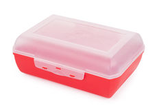 在白色背景隔绝的塑料午餐盒 免版税库存图片