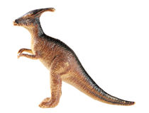 在白色背景隔绝的塑料恐龙玩具 库存照片