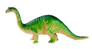 在白色背景隔绝的塑料恐龙玩具 免版税库存图片