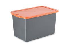 在白色背景隔绝的塑料盒 免版税库存照片