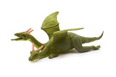 在白色背景隔绝的塑料龙玩具 免版税库存照片
