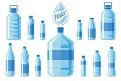 在白色背景隔绝的塑料水瓶集合 健康阿瓜装瓶传染媒介例证 库存照片