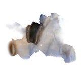 在白色背景隔绝的墨水泼溅物水彩染料液体水彩黑色蓝色宏观斑点污点纹理 免版税图库摄影