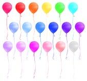 在白色背景隔绝的套五颜六色的气球 也corel凹道例证向量 库存例证