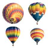 在白色背景隔绝的套五颜六色的热空气气球 免版税库存图片