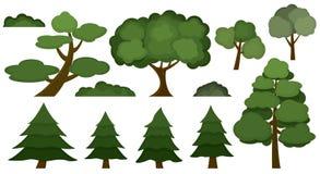 在白色背景隔绝的套各种各样的树和灌木 免版税库存图片