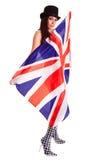 在白色背景隔绝的女孩英国旗子英国 免版税库存图片