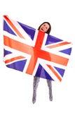 在白色背景隔绝的女孩英国旗子英国 库存照片