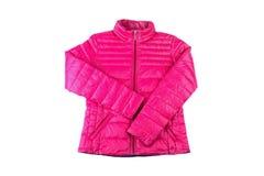 在白色背景隔绝的女性体育桃红色夹克 免版税库存照片