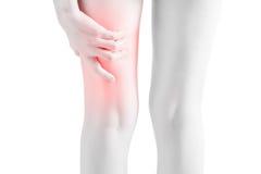 在白色背景隔绝的妇女大腿的剧痛 在白色背景的裁减路线 免版税库存照片