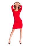 在白色背景隔绝的妇女红色礼服画象 库存照片