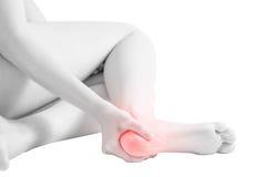 在白色背景隔绝的妇女脚腕的剧痛 在白色背景的裁减路线 免版税库存照片