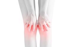 在白色背景隔绝的妇女膝盖的剧痛 在白色背景的裁减路线 免版税库存图片