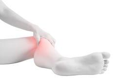 在白色背景隔绝的妇女膝盖的剧痛 在白色背景的裁减路线 库存照片