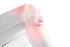 在白色背景隔绝的妇女膝盖的剧痛 在白色背景的裁减路线 库存图片