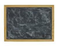 在白色背景隔绝的学校黑板 库存照片