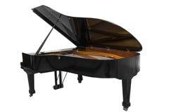在白色背景隔绝的室外黑钢琴 库存图片