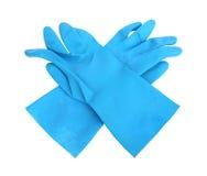 在白色背景隔绝的家庭防护橡胶手套 免版税库存图片