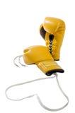 在白色背景隔绝的对黄色拳击手套 免版税库存图片