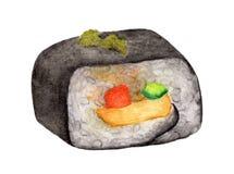 在白色背景隔绝的寿司卷,与裁减路线,水彩日本人食物 免版税库存照片