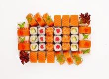 在白色背景隔绝的寿司集合 免版税库存图片