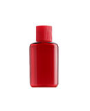 在白色背景隔绝的小瓶红颜色包装 免版税库存图片