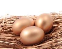 在白色背景隔绝的巢的三个金黄鸡蛋 库存图片