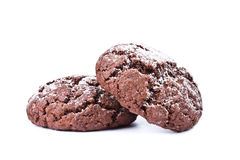 在白色背景隔绝的巧克力曲奇饼 库存照片