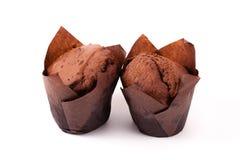 在白色背景隔绝的巧克力松饼 免版税库存照片