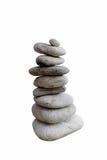 在白色背景隔绝的平衡的石头 库存照片