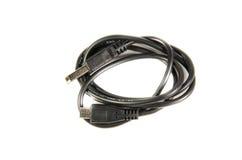 在白色背景隔绝的微型USB缆绳 库存图片