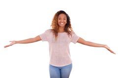 在白色背景隔绝的愉快的年轻非裔美国人- Blac 免版税图库摄影